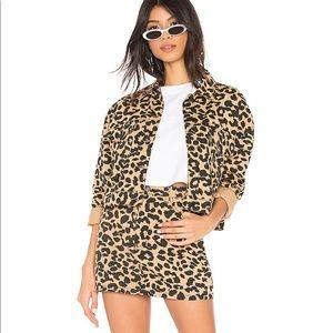 Superdown leopard denim skirt+jacket set worn once